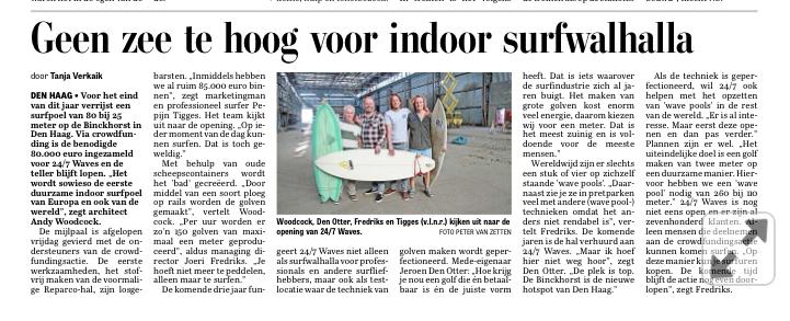 Telegraaf – Geen zee te hoog voor indoor surfwalhalla